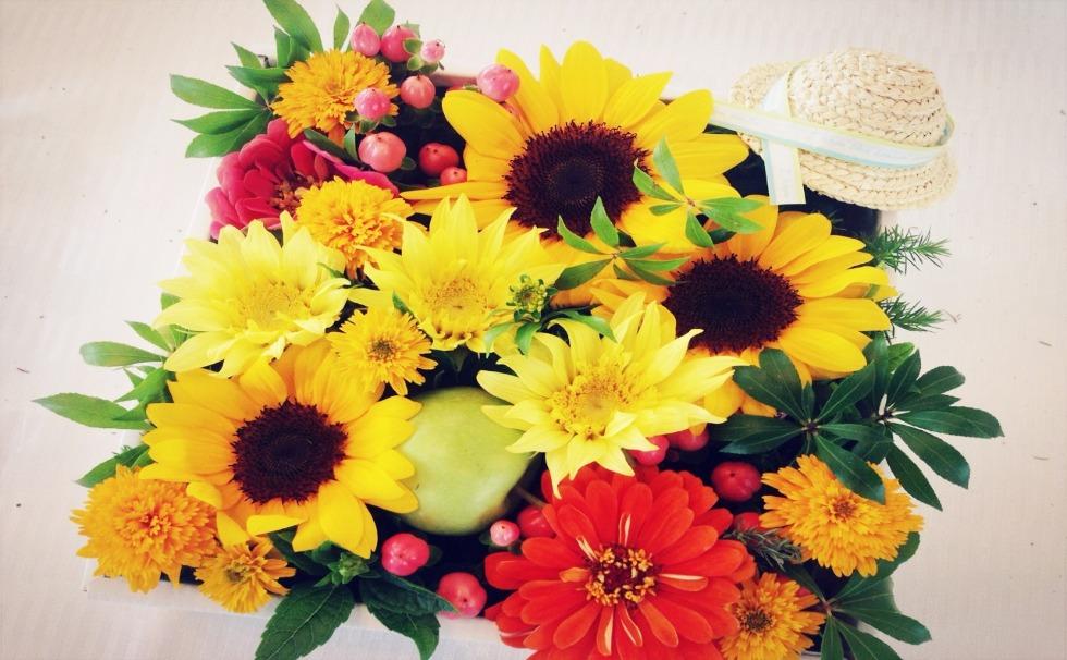 Flower School-Now is the season!Sunflower arrangement ~